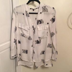 Zara long sleeve cat shirt.